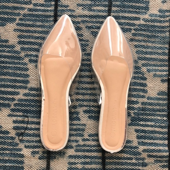 8082900979f Forever 21 Shoes - Forever 21 Clear Flats Mules